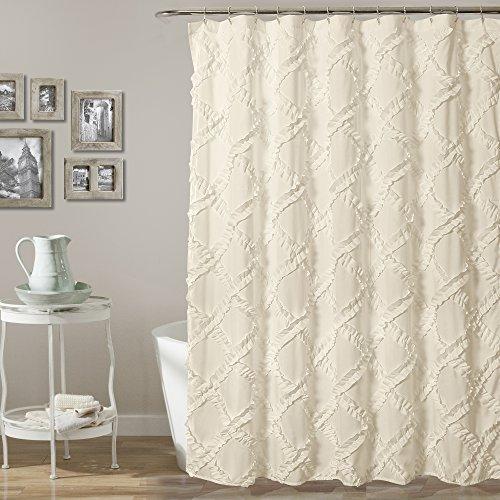 "Lush Decor, Ivory/Pale Yellow Ruffle Diamond Shower Curtain | Textured Shabby Chic Farmhouse Style Design, x 72, 72"" x 72"""
