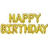 Ponmoo Globos de Happy Birthday Banner - Dorado, Cumpleaños Globos para La Decoración Aniversario Fiesta, Globo de Feliz Cumpleaños Suministros Decoración Globo Party