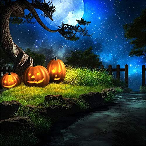 8x8ft Halloween Party Foto Hintergrund Kinder Familie Feier Wallpaper Poster Wunderland Wald Sternensterne Mondschein Gras Jack-O-Laterne Kürbis Glowing Photo Booth Porps