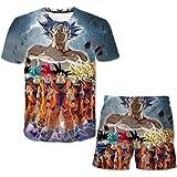 EA-SDN Dragon Ball - Juego de camiseta y pantalón corto para niños, diseño de impresión 3D, 1 camiseta y 1 pantalón corto (Dragon Ball 7,160)