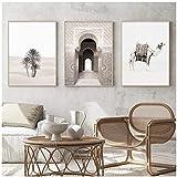 QIAOO Mode Leinwand Kunst, Kamel Marokko Tür Landschaft