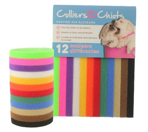 UNLEASHED.DOG Collare per Cuccioli – 12 Strisce di identificazione Marca Velcro – Dimensioni 40 cm