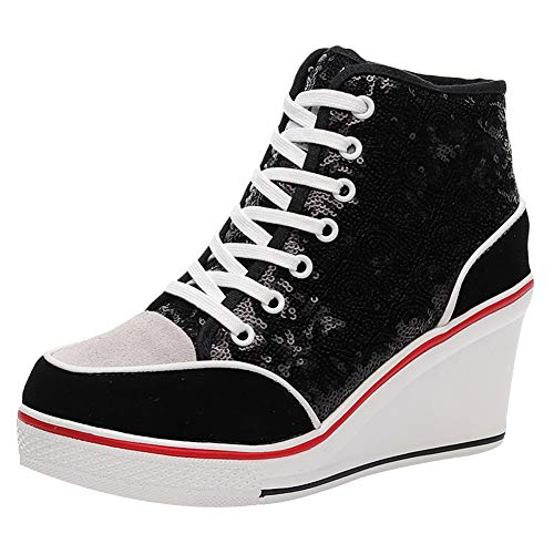 amropi Women's Sequin High Top Lace up Wedge Heel Suede Fashion Sneakers (Black,7)