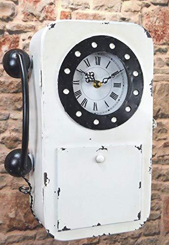 Livitat Schlüsselkasten Schlüsselschrank 35 cm hoch Metall Retro Vintage mit Uhr und Telefon LV5097 (Weiß)