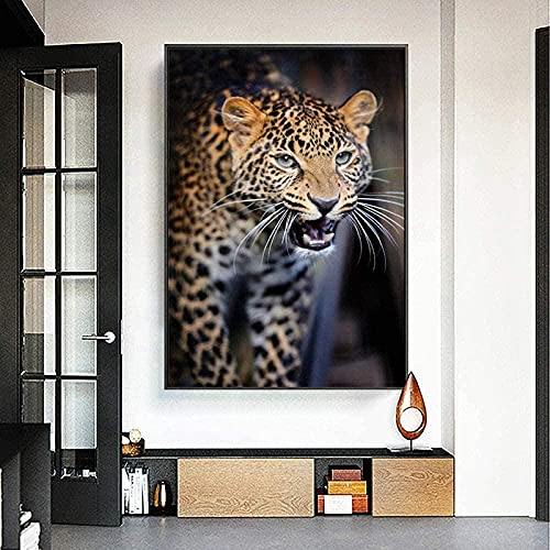 liujiu Angry Little Leopard Animal Poster Canvas Painting Posters Print Wall Art Picture para la decoración del hogar -50x70cm (Sin marco)