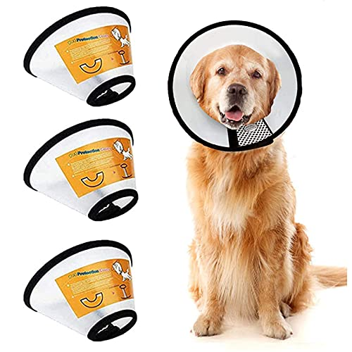 LeapBeast Conos de Recuperación para Mascotas, Collarines para Curar Heridas, Cuello Protector Cono de plástico Protección Especial para Gatos Perros (L (41-48CM))