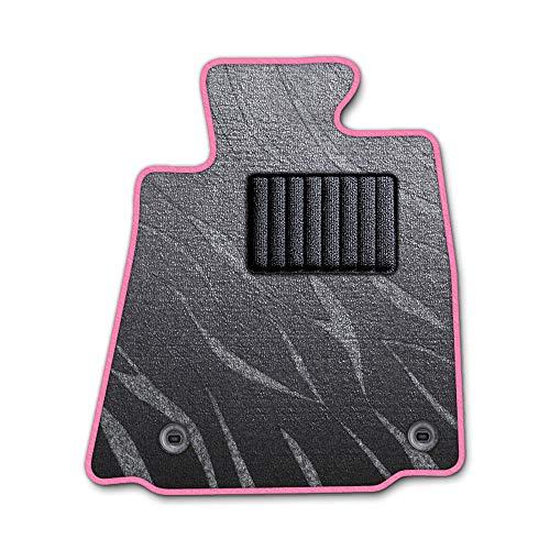 DAD ギャルソン D.A.D エグゼクティブ フロアマット NISSAN ( ニッサン ) PINO ピノHC24S 1台分 GARSON プレステージデザイングレー/オーバーロック(ふちどり)カラー : ピンク/刺繍 : 無し/ヒールパッドブラック B