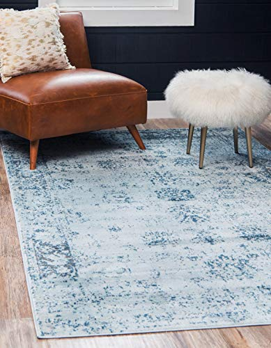 Unique Loom Sofia Collection Traditional Vintage Light Blue Area Rug (8' 0 x 11' 0), Rectangle