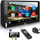 Hieha Double Din Car Stereo with Bluetooth, 7' HD Touch Screen Car Radio with Backup Camera, USB-to iOS Android Phone Mirror Link Supports GPS, Call Answering, FM, Music, Video Upgrade