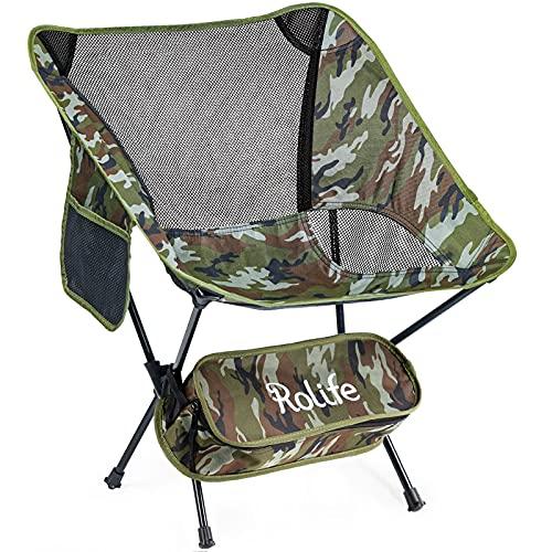 Rolife アウトドアチェア キャンプチェア 折りたたみ コンパクト アウトドア 椅子 超軽量 持ち運び便利 組立簡単 耐荷重120kg キャンプ用品 登山用 お釣り 収納やすい