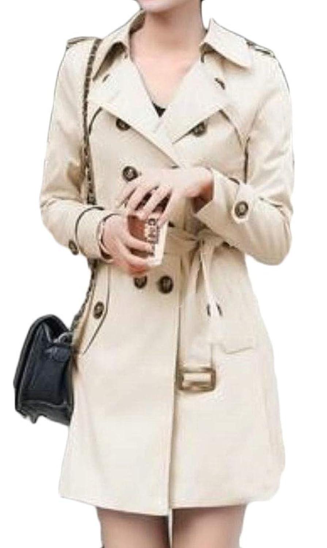 maweisong 女性ダブルブレストトレンチコートウィンドブレーカーピーコートジャケットラペルアウトウェア