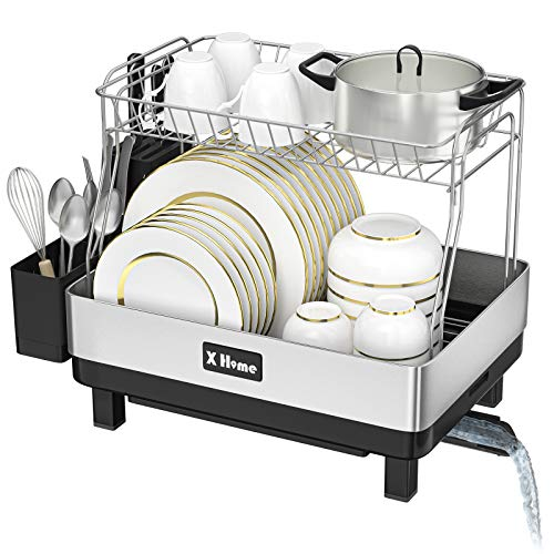 X Home Dish Racks for Counter with Drainage, Removable 2 Tier Kitchen Stainless Steel Frame Dish...