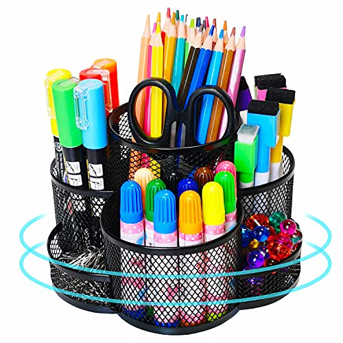 Pen Holder for Desk, 360-degree Rotating Desk Organizers with 7 Compartments –Storage 400+...