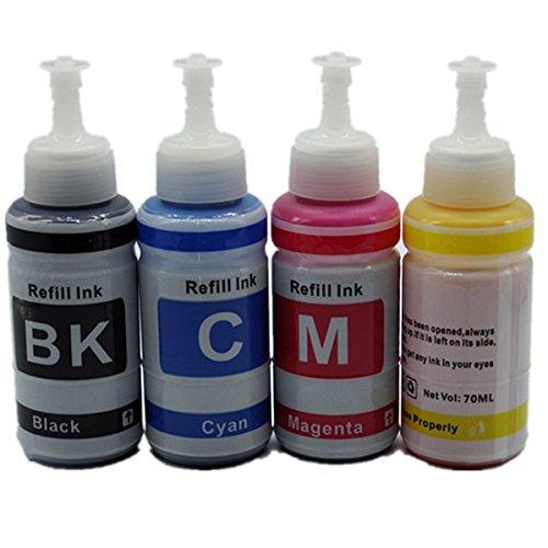 Sin nombre 70 ml x 4 tinta de tinte caliente T6641 -T6644 cartucho de recarga tinta 70 ml a granel para impresora de inyección de tinta del sistema del tanque de tinta l355