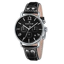 Thomas Earnshaw Investigator Men'Chronograph Quarz-Uhr mit schwarzem Zifferblatt Analog-Anzeige und schwarzem Lederarmband 8001-03 ES -