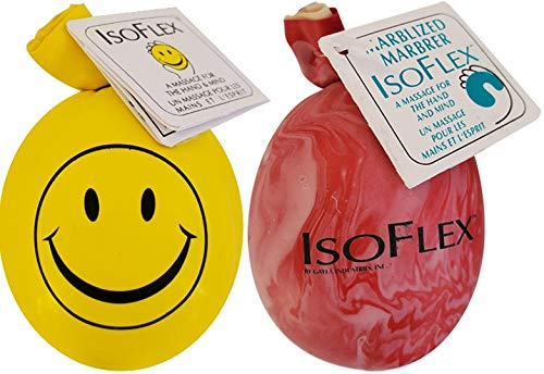 """Isoflex Stress Ball Two Pack. One """"Happy Face"""" - Yellow And One Marbleized - Assorted Colors. E-Book Included."""