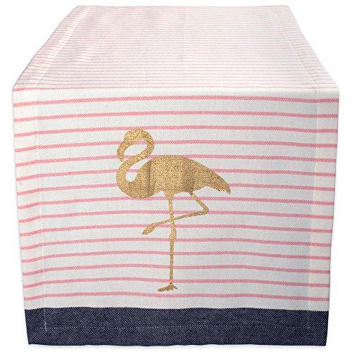 """DII Cotton Table Runner for Summer, Garden Party, Outdoor BBQ or Tropical Themed Wedding - 14x72"""", Golden Flamingo"""