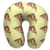 Patrón de Pizza Color Queso Espuma viscoelástica Almohada de Viaje Redonda en Forma de U Soporte para Cuello / Cabeza Alivia la Fatiga Cervical para Dormir Aviones Tren y Camping
