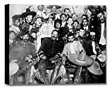 Emiliano Zapata with Francisco (Pancho) Villa Stretched (Black and White) Canvas Mexican Art Frame - 20x16in