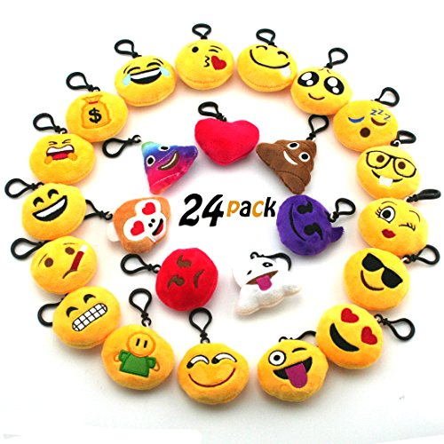 JACHAM Novelty Toys Emoji Keychain, Emotion Plush Pillow,Kids Party Supplies Favors,Keychain Decorations 2.4' Set of 24 Pack
