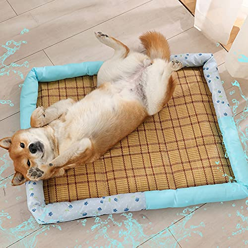HAOXIU Hunde Kühlmatte, Sommer Kühlmatte Hunde Katzen Nackenschutz Rattanmatte Zwinger Schlafkissen,Schlafplã¤TZE & mã¶Bel fã¼r Hunde