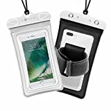 Waterproof Case, 2 Pack F-color Transparent Dry Case with Armband Compatible with iPhone 7 7 Pl…