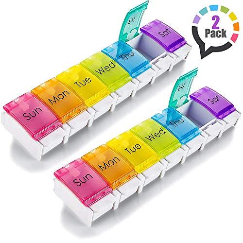 7 dagar efter-pm pillerbehållare – med tryckknapp öppningsstöd Dag-pillerlåda behållare med stora avdelningsfack för mediciner vitaminer fiskolja och näringstillbehör: BPA-fri