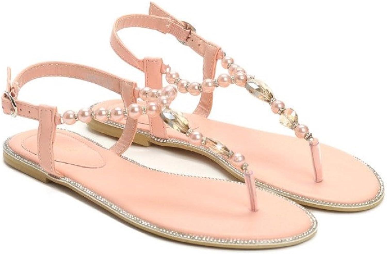VICES selection design Anna Flat Sandal - Beaded Trim - Strap Closure - Beige - Black - Pink