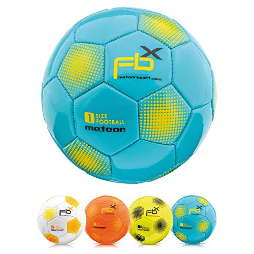 meteor Football Training Ball Every Size 5 4 3 1 Official Match Adults Junior Kids Soccer Futsal Professional Club Team Indoor Outdoor Play Toy Many Colors (FBX #3, blue)