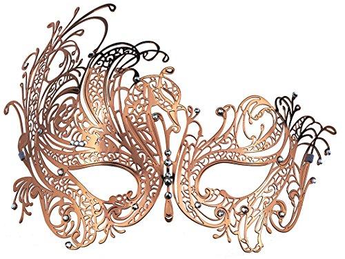 Thmyo Karnevalsmaske, venezianisches Laser Cut Metall Filigran mit Strass Maske. (Roségold)