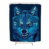 Bannanabut Wolf Duschvorhang zum Aufhängen, wasserdicht, Polyestergewebe, Badezimmervorhang, waschbar, mit Haken, weiß, 183 x 200,7 cm