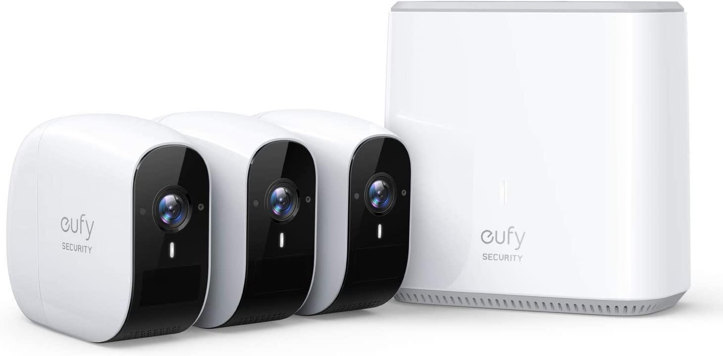 Wireless Home Security Camera System, eufy Security, eufyCam E 365-Day Battery Life, 1080p HD, IP65 Weatherproof, Night Vision, Compatible with Amazon Alexa, 3-Cam Kit, No Monthly Fee