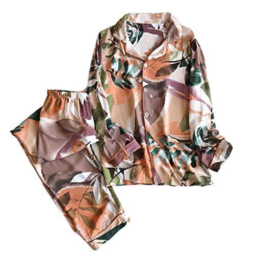 2021 Lo último de las Mujeres de Verano Geométrico Patrón Pijamas Conjunto de Manga Larga Botones Tops Sueltos Pantalones de Algodón Delgado Hogar Ropa de Dormir Salón de las Mujeres Ropa de Dormir