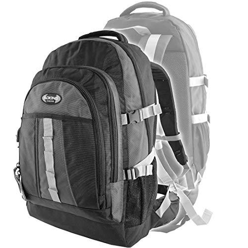 Aoking Rucksack Trekkingrucksack Alltag Schule Reisen Sport Laptop Notebook XL Trekking Freizeit Outdoor (Grau)