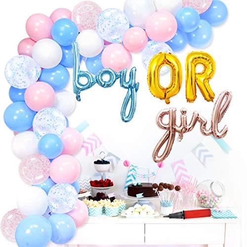 Gender Reveal Balloon Garland Arch Kit Bomba manual de aire para niño o niña Balloon para género Neutral Baby Shower Set de decoración