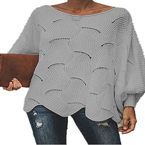 Vrouwen Losse Sweater Mantel Casual Oversized Zachte Lantaarn Mouw Hollow Out Pullovers Knit O Neck Wave Hem Effen Vrouwelijke Truien