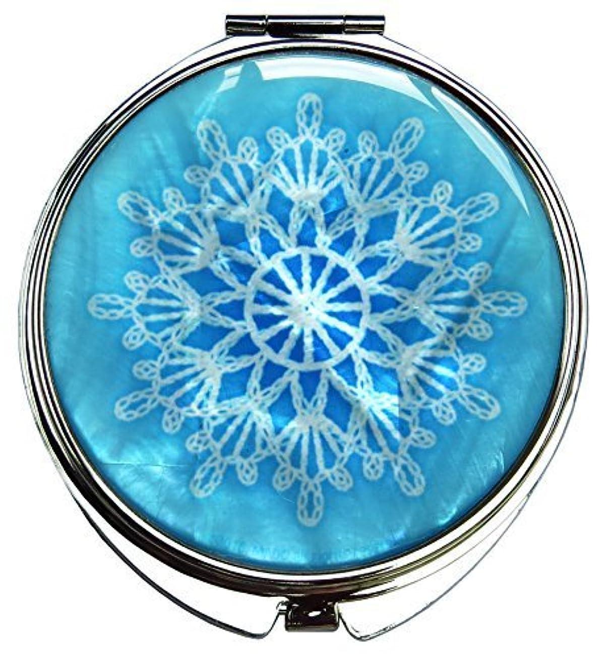 閉じ込める閉塞触覚MADDesign 真珠の金属デュアルコンパクトのスカイブルー折りたたみ化粧鏡の母はスノーフレーク白いレースを拡大します 空色 [並行輸入品]
