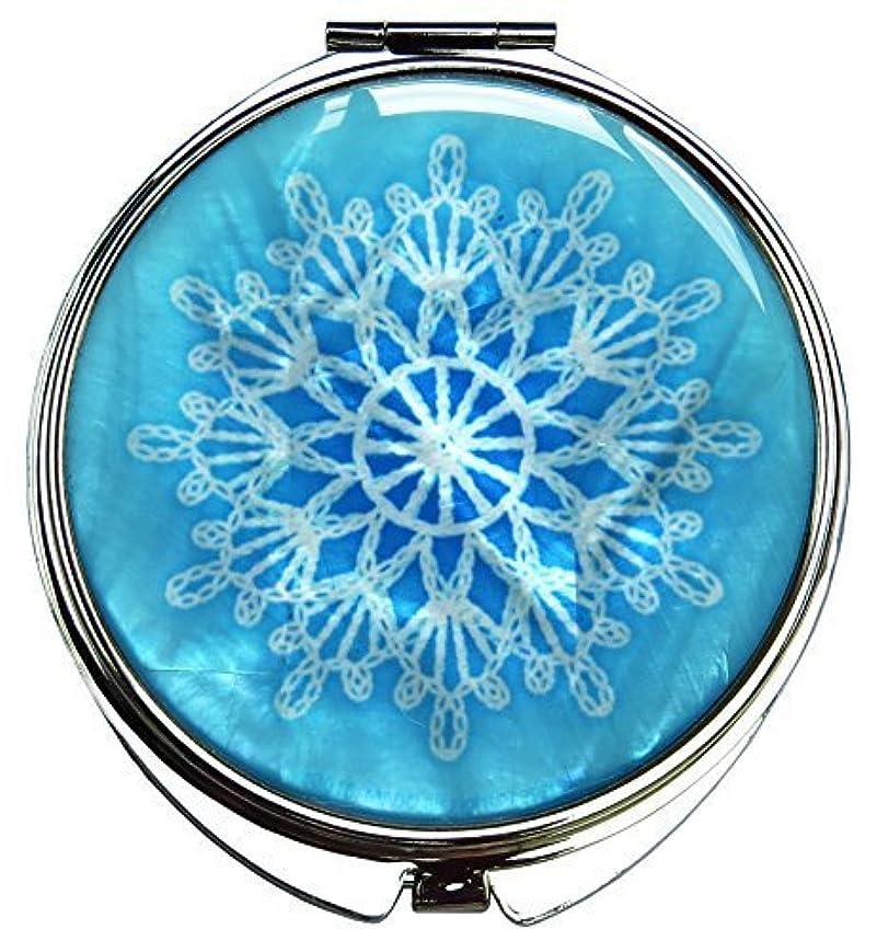 MADDesign 真珠の金属デュアルコンパクトのスカイブルー折りたたみ化粧鏡の母はスノーフレーク白いレースを拡大します 空色 [並行輸入品]