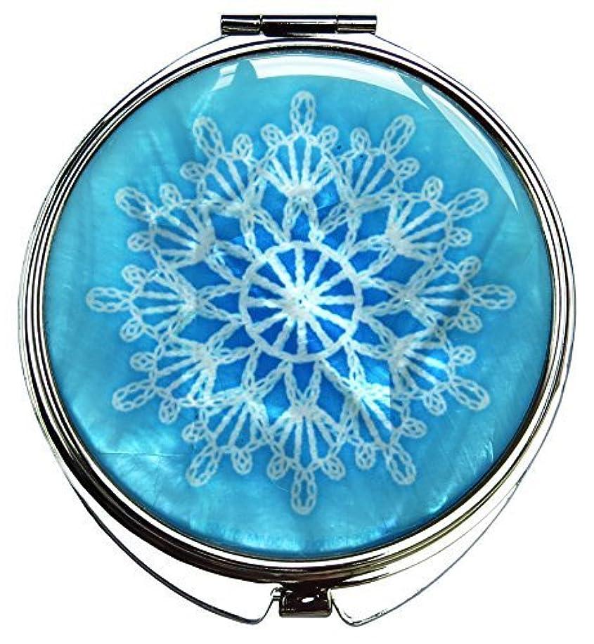 滑り台分解する拮抗MADDesign 真珠の金属デュアルコンパクトのスカイブルー折りたたみ化粧鏡の母はスノーフレーク白いレースを拡大します 空色 [並行輸入品]