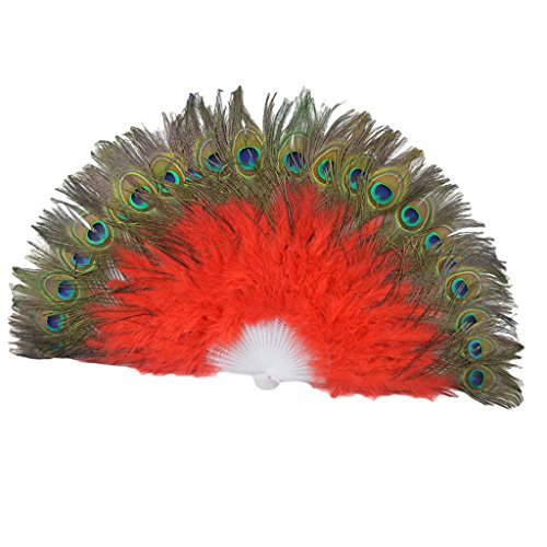 MagiDeal Roter Handfächer Federfächer Feder Hand Fächer rot Damenfächer Fasching Karneval Kostüm Zubehör