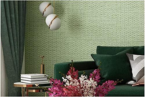 Papel Pintado Minimalista Moderno No Tejido 0,53 x 9,5m Lino puro tejido liso Papel Pintado Decoración de Pared para Dormitorio TV Telón de Fondo, Verde matcha