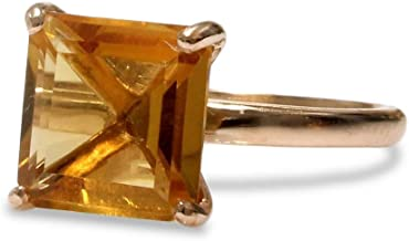 Anemone Unique 14K Rose Gold Ring - Glamorous Prong Setting Citrine Ring - Handcrafted by Skilled Artisans for November La...