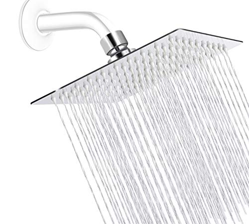 Rainfall Shower Head, Bellearly 8 Inch High Pressure Shower Head, Ultra-Thin Design, Pressure Boosting Design, Awesome Shower Experience Even At Low Water Flow (8 inch)