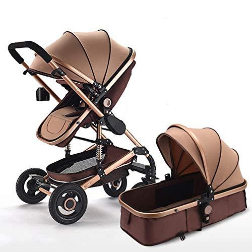 Olydmsky Carro bebe,Bebé cochecito paisaje alto reclinable plegable cochecito bebé dos vías amortiguador silla de paseo