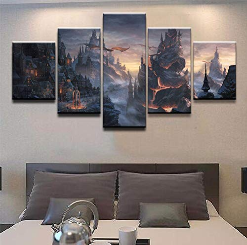 5 piezas pintura e impresión lienzo artista de la pared decoración del hogar impresión HD lienzo arte de la pared cartel decoración del hogar tablero fantasía cartel regalo DIY pintura de la par