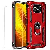 Joytag compatibles para Funda Xiaomi Poco X3 NFC,Carcasa +Cristal Templado Silicona TPU 360 Grados Anillo Giratorio magnético Soporte Caja del teléfono del Coche-Rojo