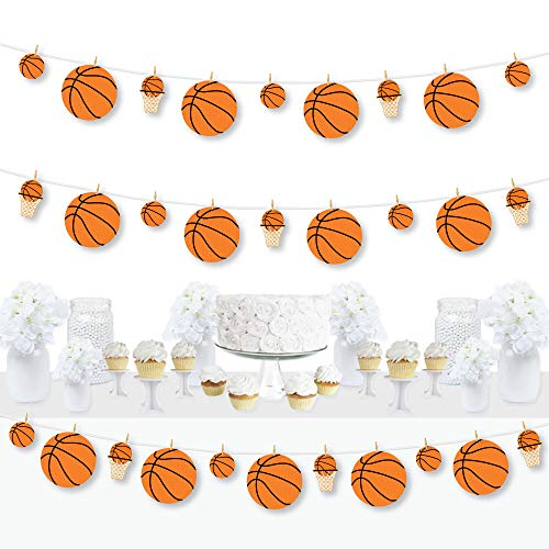Big Dot of Happiness Nothin' but Net - Basketball - Baby Shower or Birthday Party DIY Decorations - Clothespin Garland Banner - 44 Pieces