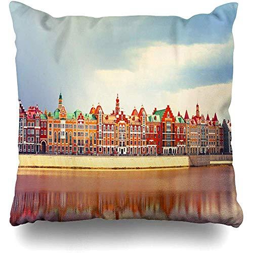 K.e.n Throw Pillow Cover Berühmte Aussicht auf Waterfront Belgische Gotik Belgien Anziehungskraft...