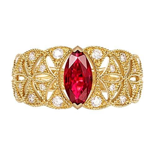 Daesar Anillo de Mujer Oro Rojo Anillos de Compromiso Oro Amarillo 18K Oval Rubí Rojo 0.71ct Diamante 0.3ct Anillo Talla 18,5