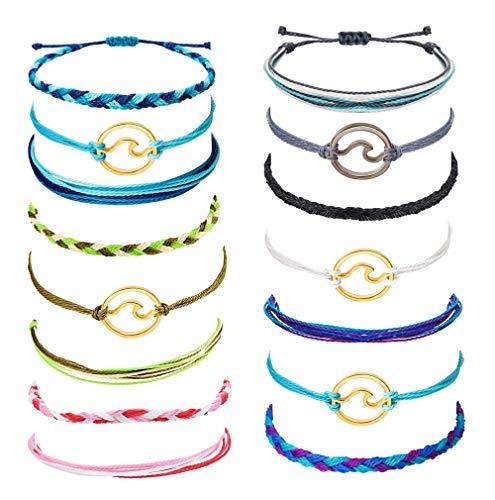 Milacolato 12-15Pcs Wellenstrang Armband Set für Damen Mädchen Bunt Handgemacht Freundschaft geflochtenes Armband Wickeln Einstellbar Geburtstagsgeschenke